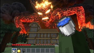 GIANT LAVA MONSTER ATTACK ZOMBIE FAMILY AND DESTROYS MAKRS HOUSE In Minecraft / Minecraft Mods