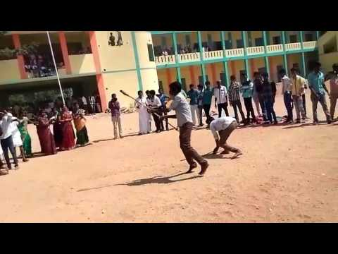 Silambam in college indoor GUDIYATHAM