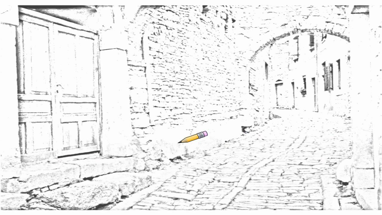 Drawing Lines R : Auto draw cobblestone street bale croatia youtube