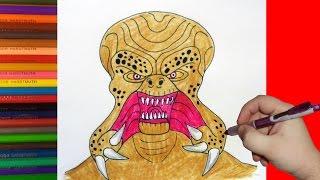 How to draw Alien Monster, Как нарисовать пришельца