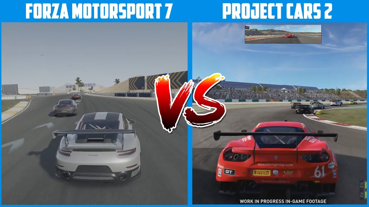 Forza Motorsport 7 VS Project Cars 2 Side By Side Comparison (1080p 60fps)