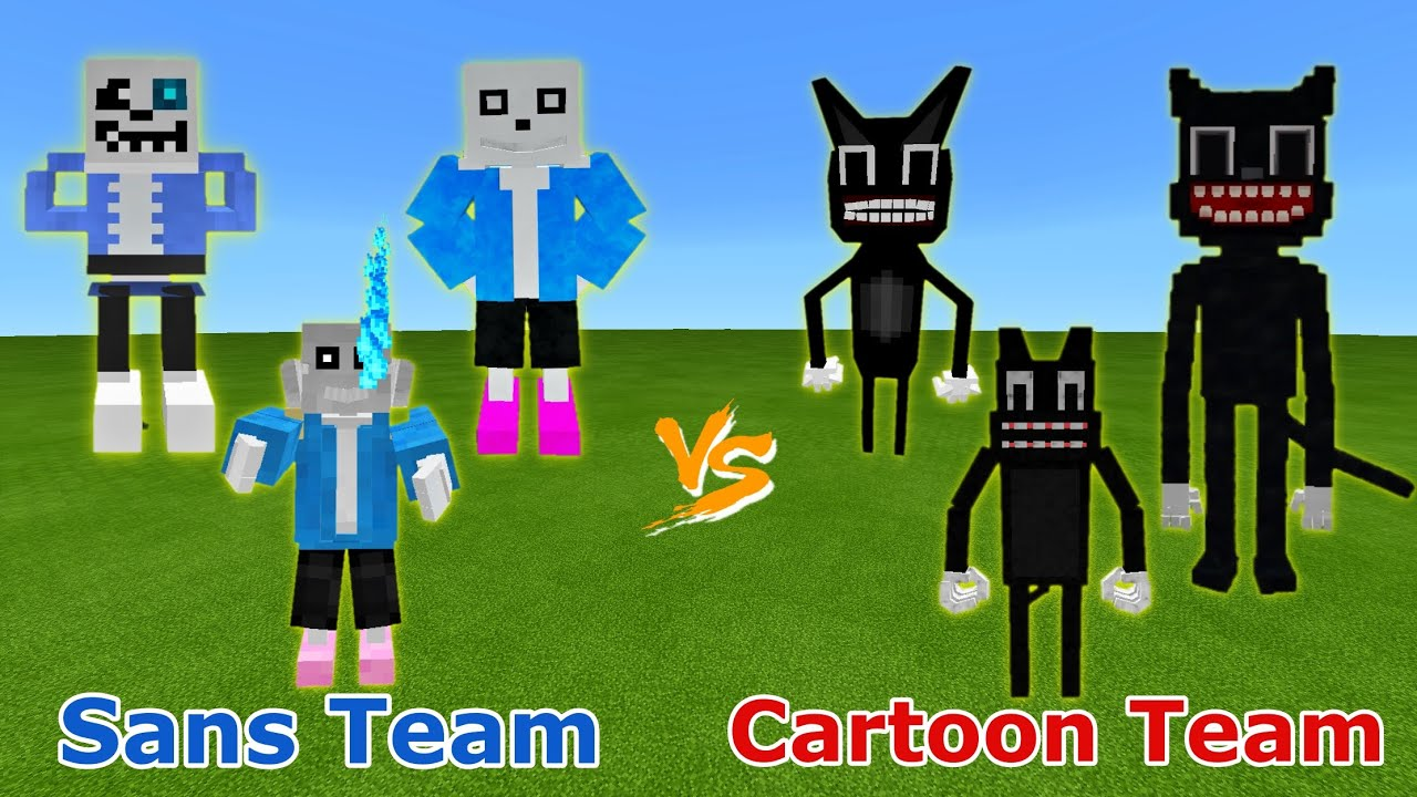 Sans Team (Rhex, H2V, NinjaSlime) vs. Cartoon Cat Team (JPGYT, Rhex, GamersKot) in Minecraft PE