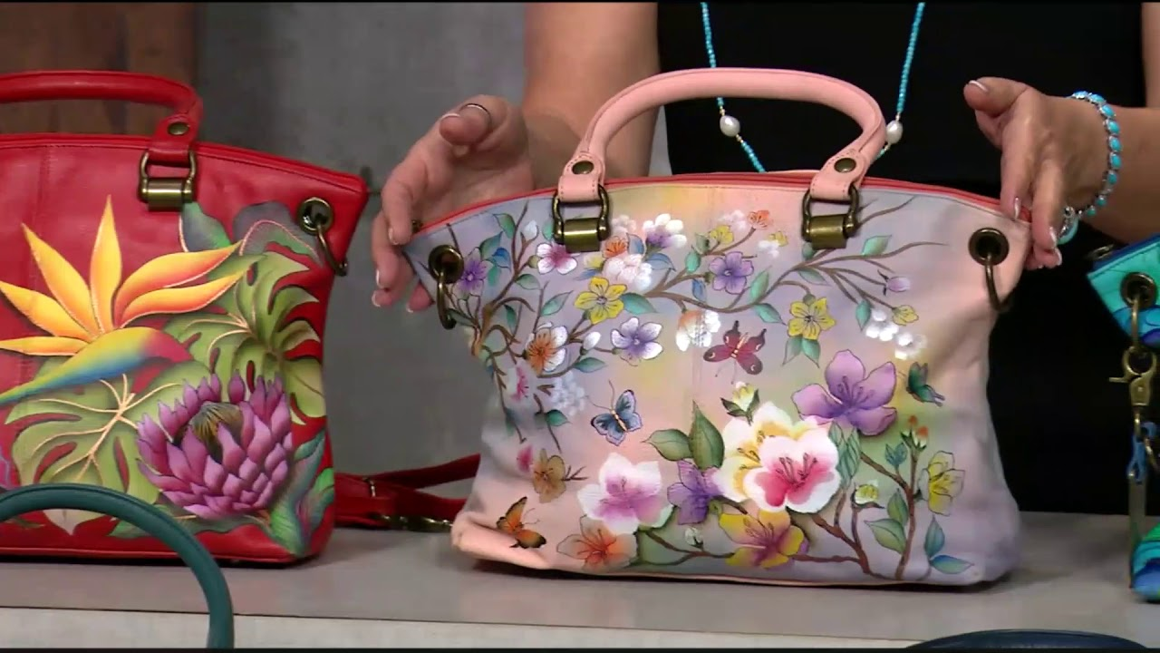 ab0abcbf3 730-363 Anuschka Hand-Painted Leather Zip Top Satchel w/ Removable Strap