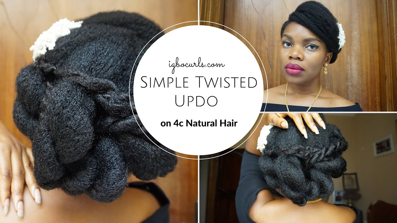 NATURAL HAIRSTYLE ON BLACK NATURAL HAIR Simple Twisted Updo on 4c
