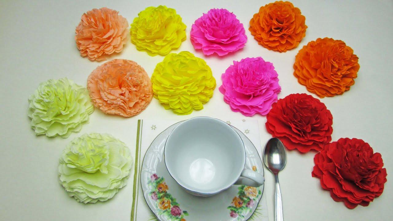 Цветы из салфетки своими руками пошагово