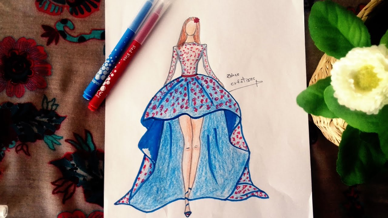 How to draw a beautiful dress - Fashion dress drawing ... |Pretty Clothes Drawings