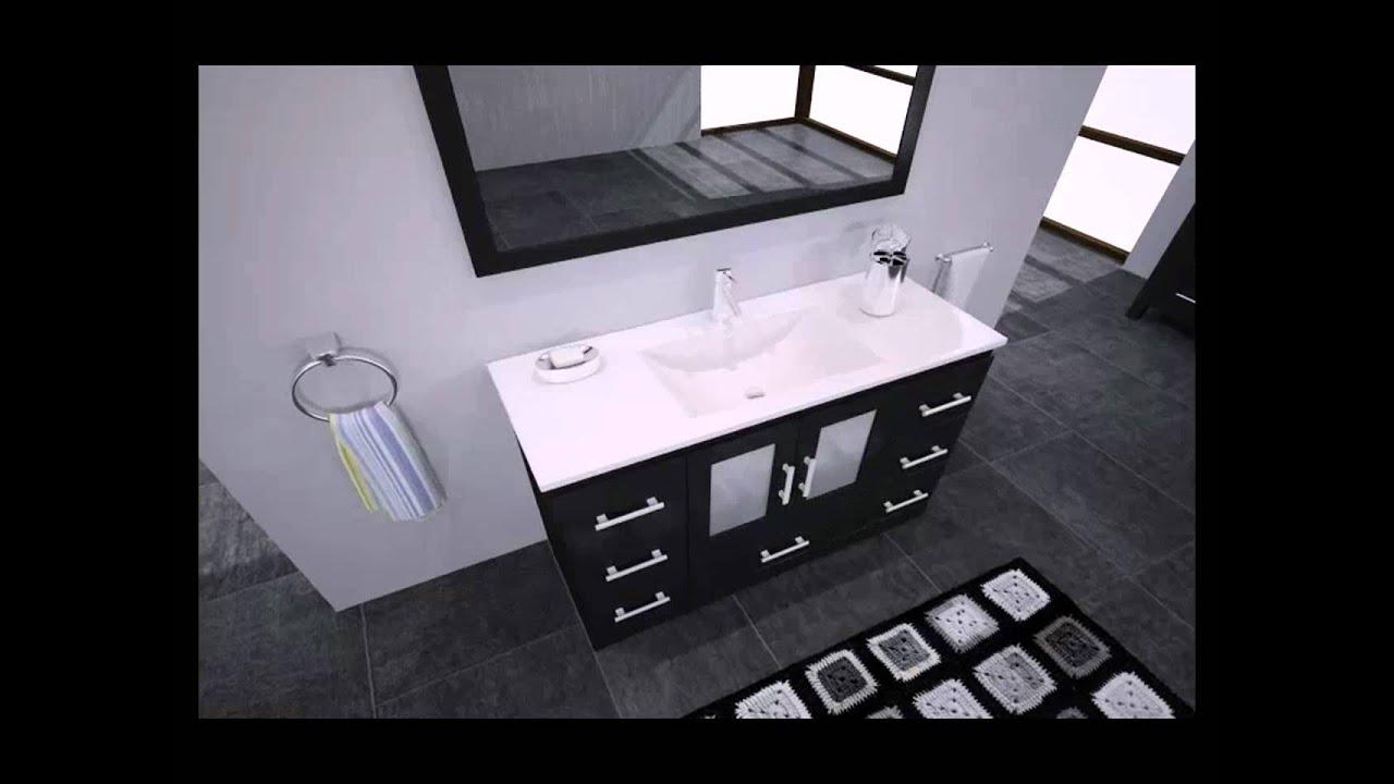 Zola Bathroom Mirrors virtu usa ms-6748 zola single sink vanity set - modern.mp4 - youtube