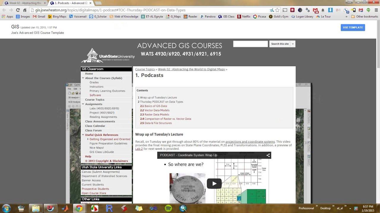 Class Announcements - Advanced GIS Courses: WATS USU