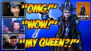 """STREAMERS """"REACT"""" TO *NEW* ICE QUEEN SKIN! Funny Fortnite Clips & WTF Moments!"""