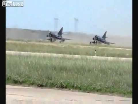 FIGHTER JET BLAST RIPS UP RUNWAY