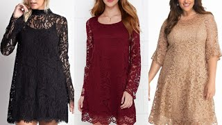 gorgeous good looking long sleeve lace fabric sheath dress/shift dress design and ideas/party wear