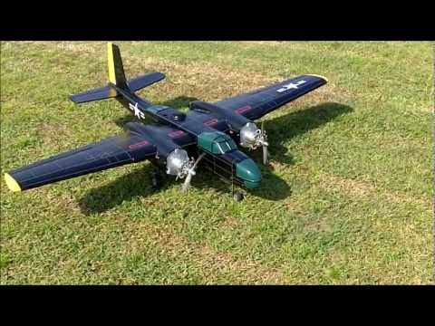 Wankel Rotary Engine Powered A 26 Invader (OS .30 Engines) RC Airplane