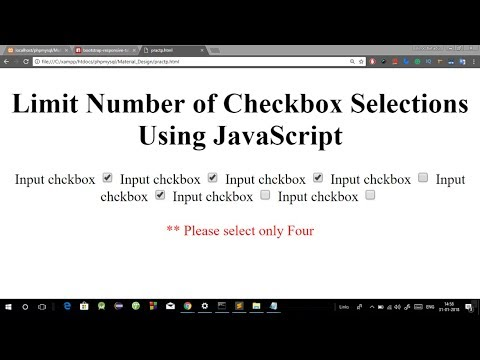 Limit Number Of Checkbox Selections Using Javascript | Limit Number Of Checkboxes Checked By User