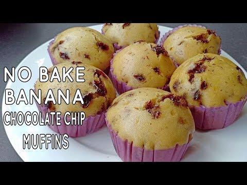 No Bake Banana Chocolate Chip Muffins