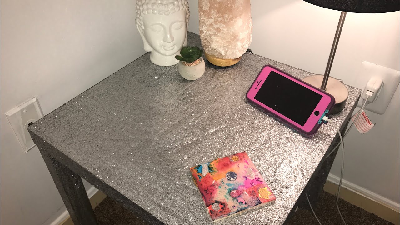 DIY Mod Podge Glitter Table Easy and Cheap YouTube