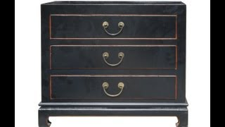 Black Color Solid Wood Claw Leg 3 Drawers Small Dresser / Side Table F897