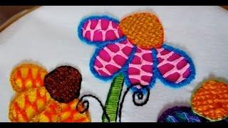 puntada fantasa flores hojas y centros de catarina   bordados con isa