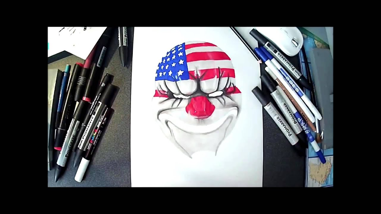Coloriage Masque Clown.Dessin Masque Clown Realiste Payday Speed Drawing Youtube