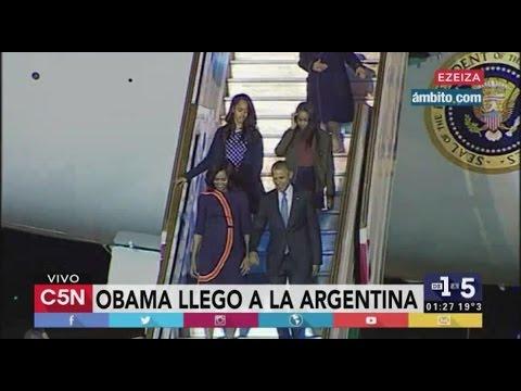 C5N - Obama en Argentina: El Presidente de Estados Unidos y su familia arriban a Ezeiza