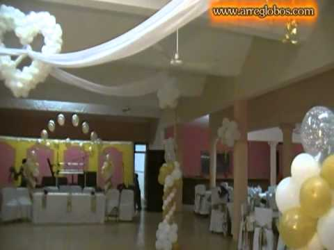 Decoracion con globos para boda youtube for Adornos para salon de casa