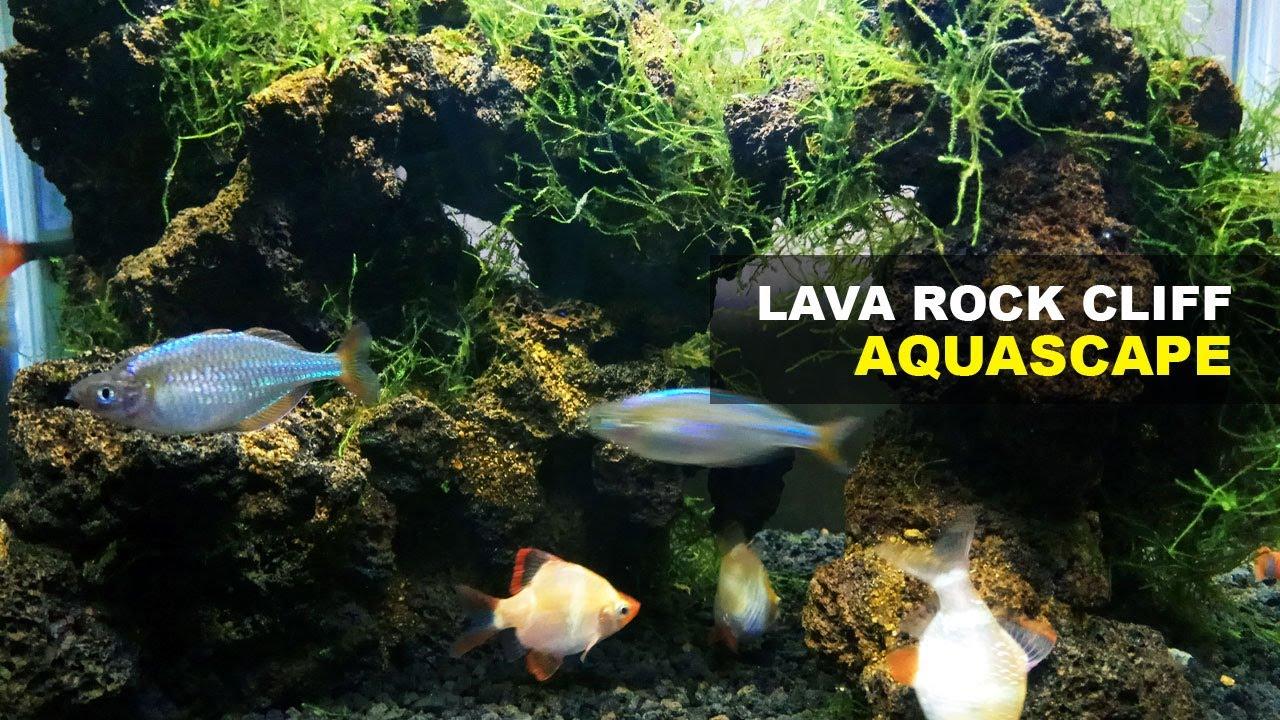 Lava Rock Cliff Aquascape Decoration - YouTube