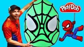 SPIDERMAN Super Big Surprise Egg ★ Giant Superhero Play Doh Egg Surprise Creation! Huevo Sorpresa