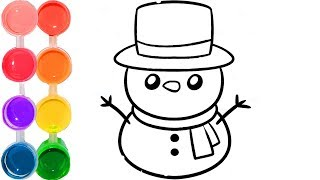 How to draw a snowman | how to color art for kids cartooning | step by step 2018 drawing tutorial