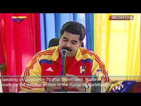 Venezuelan president Nicolás Maduro hit on head with mango - video
