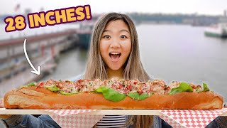 Download I Challenged A Competitive Eater To Finish A 28-Inch Lobster Roll • Giant Food Time Mp3 and Videos