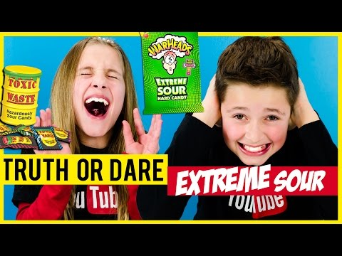 TRUTH OR DARE + EXTREME SOUR CANDY CHALLENGE! WARHEADS, TOXIC WASTE,  HARIBO, QUICK BLAST TASTE TEST