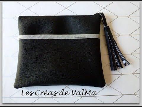 Tuto couture pochette trousse simili cuir avec poche for Trousse de couture en cuir