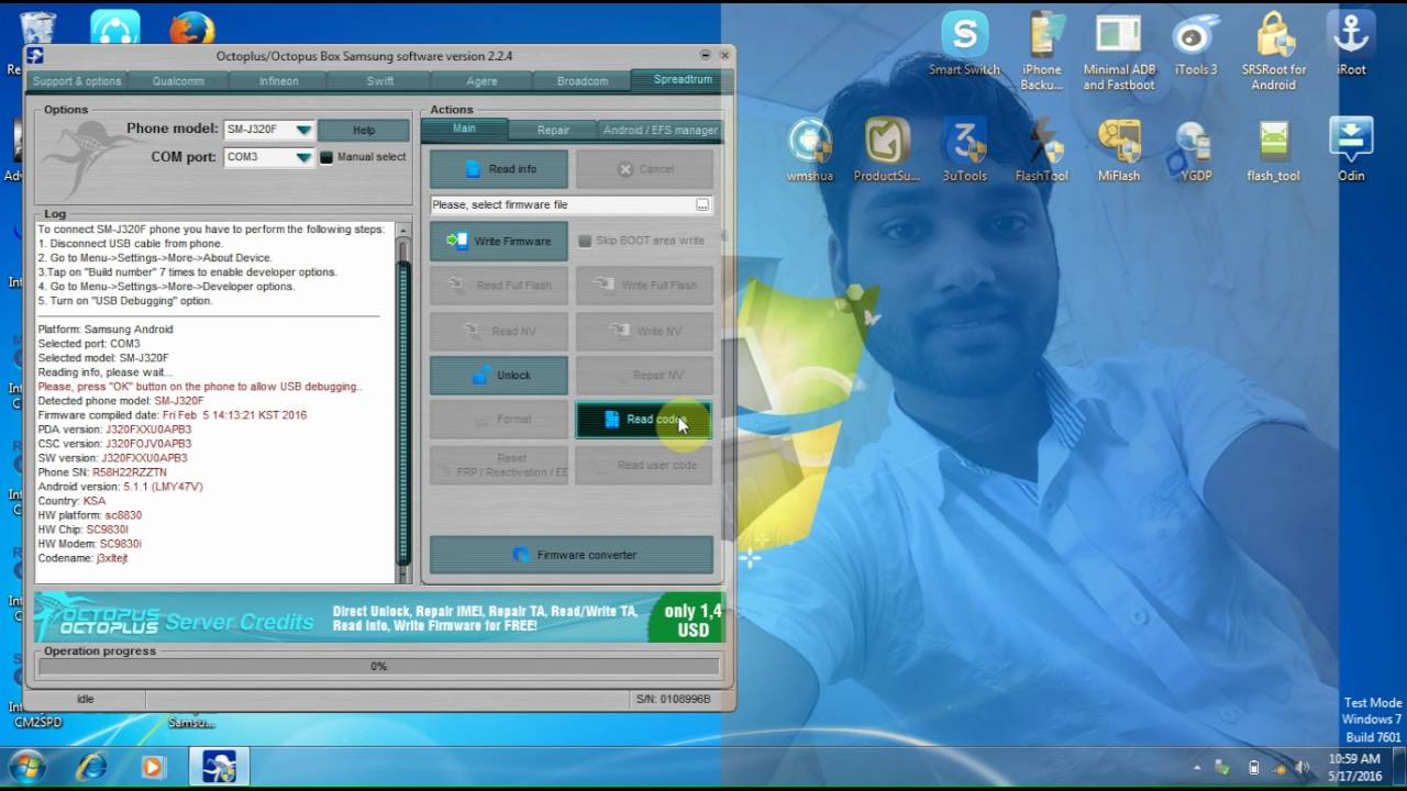 Samsung Galaxy J3 2016 SM J320F Read Network Unlock Code By Octoplus  Samsung Tool