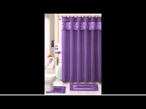 Purple Flower 18 piece Bathroom Set rugs mats fabric Shower Curtain fabric Covered Rings Decorative