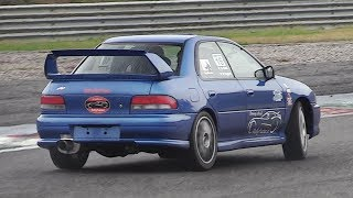 Pushing a screaming Subaru Impreza GC8 to the limit on a humid & slippery track (w/ OnBoard)!
