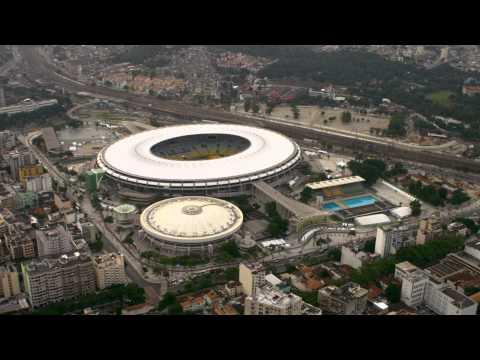 Aerial footage of soccer stadium - Rio de Janeiro, Brazil.