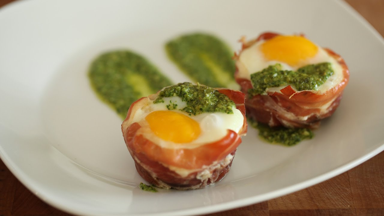 Whitney\u0027s Baked Egg Cups in Prosciutto || KIN EATS - YouTube