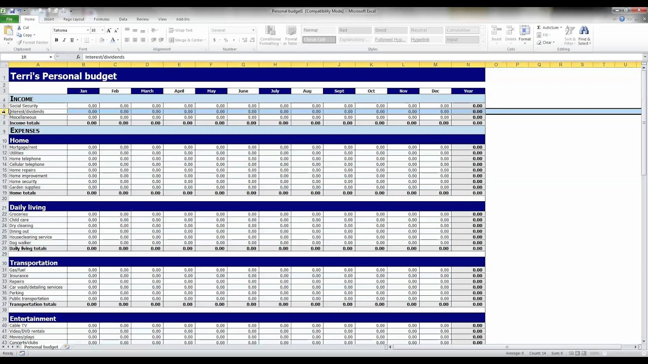 how to create a simple budget with excel