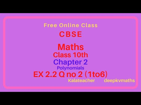 MATHS NCERT/CBSE SYLLABUS 10TH CLASS CHAPTER 2 Polynomials EX No 2.2 Q No 2 (1to6) (Malayalam)