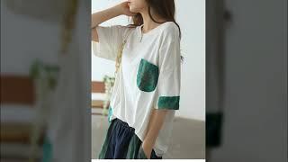 나공주 꽃나무자수포켓티셔츠