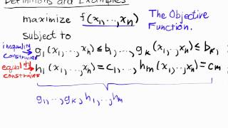Constrained Optimization Lecture I Part 1: Definitions and Examples