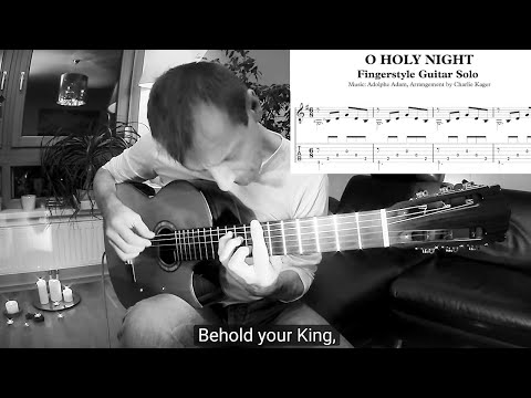 O Holy Night TUTORIAL Acoustic Classical Fingerstyle Guitar TAB Notation Sheet Charlie Kager