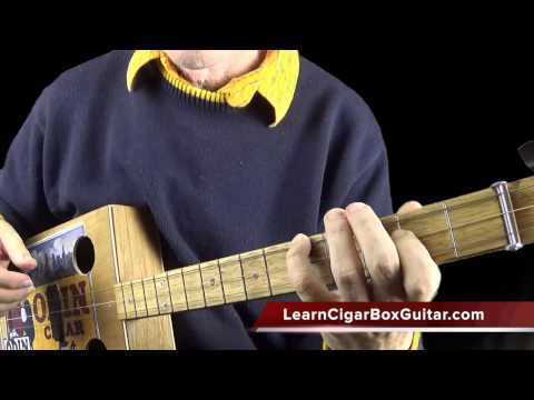 The 3 string cigar box guitar - dealing with chords and riffs and stuff