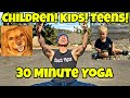 Beginner Yoga for Kids and Teens Class - 30 Min FULL Routine #yogaforkids #yogaforteens