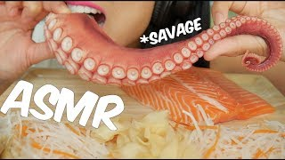 ASMR SALMON & OCTOPUS SASHIMI (RAW SAVAGE Extreme Soft Chewy EATING SOUNDS) No Talking | SAS-ASMR