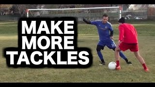 How to tackle in soccer  How do a tackle in football  How to defend in football soccer