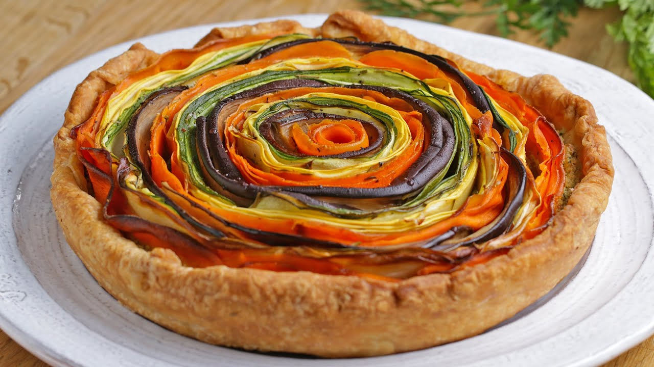 Rainbow Veggie And Pesto Tart