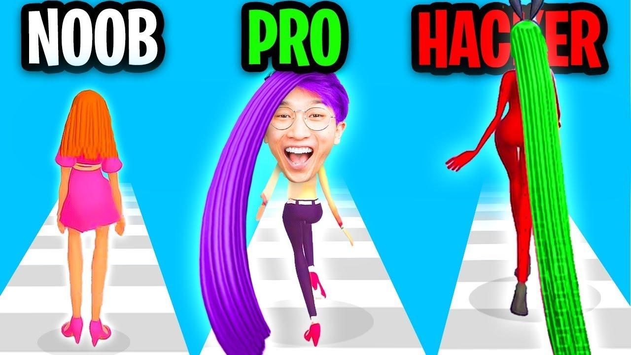 Can We Go NOOB vs PRO vs HACKER In HAIR CHALLENGE APP!? (MAX LEVEL!!)