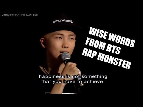 bts rap monster wise words compilation youtube