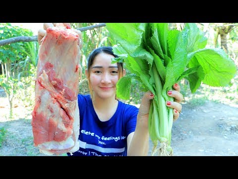 Yummy Pork Soup Cooking Roasted Rice - Pork Cooking Roasted Rice - Cooking With Sros