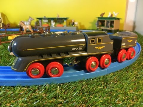 BRIO 33697 Black Speedy Bullet Train With Coal Tender Wagon in motion at farm (000038)